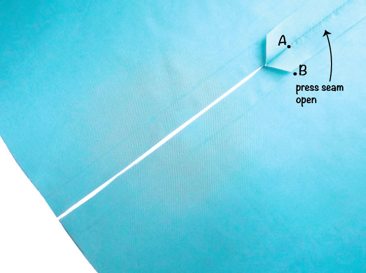 How to sew a lined slit step 4