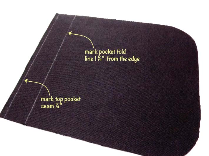 How to sew a patch pocket step 2