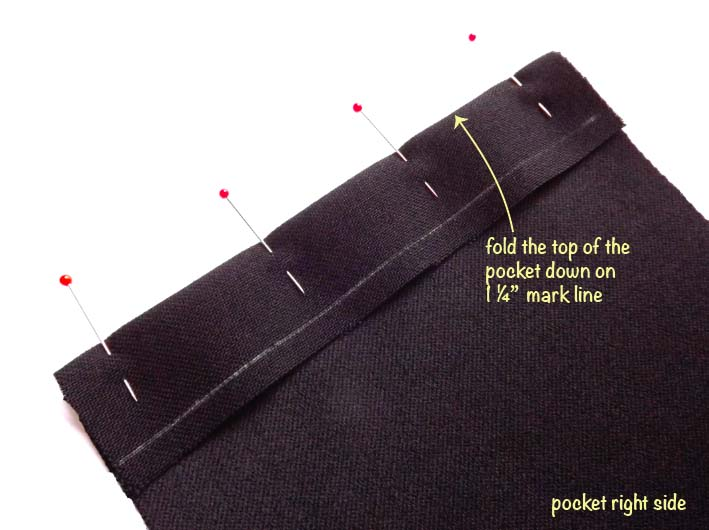 How to sew a patch pocket step 3