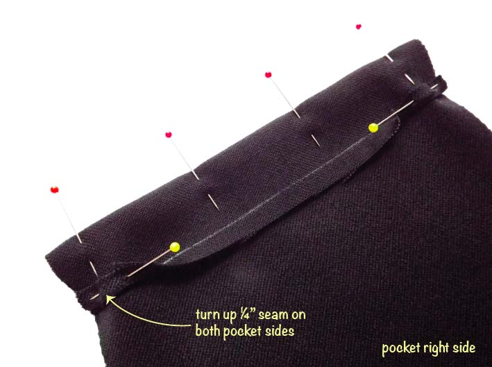 How to sew a patch pocket step 4