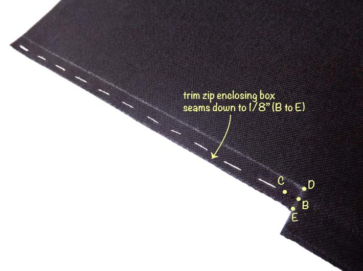 How to sew an exposed zip step 3